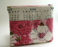 Zippered Purse Pouch, Upcycled Vintage Tea Towel, Pink Lady: