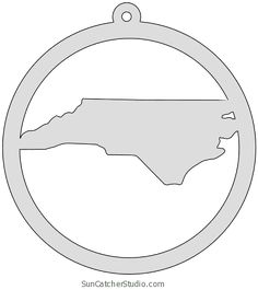North Carolina map inside circle state stencil clip art scroll saw pattern printable downloadable free template, laser cutting, vector graphic, silhouette or cricut design. Map Outline, State Outline, North Carolina Map, Door Hanger Template, Scroll Saw Patterns, Clay Projects, Make And Sell, Craft Fairs