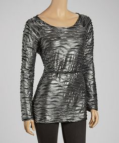 Silver & Gray Wave Belted Tunic by eci New York