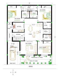 Bungalow House Design, Modern House Design, Beautiful House Plans, Beautiful Homes, Indian House Plans, Indian Homes, Home Design Plans, Drawing Lessons, Villas