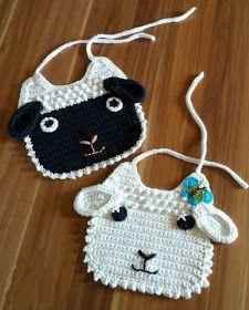 Baby Patterns: Little Lamb Crochet Baby Bib -Free Crochet Pattern
