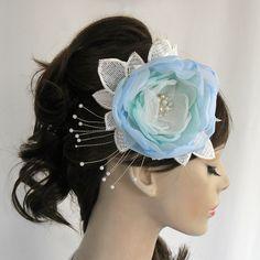Teal bridal hair flower handmade unique design by MammaMiaBridal, $50.00