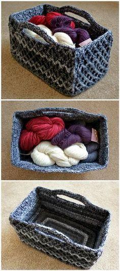 Crochet Rectangular Diamond Trellis Basket - 10 Free Crochet Basket Patterns for Beginners | 101 Crochet