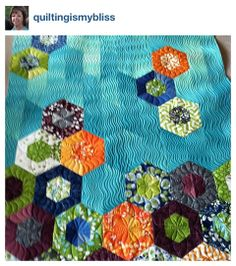 Jaybird Quilts - Science Fair pattern and Simply Color fabric - quilt by quiltingismybliss - love these colors and the quilting Jaybird Quilts, Longarm Quilting, Free Motion Quilting, Machine Quilting, Quilting Projects, Quilting Designs, Cute Quilts, Baby Quilts, Hexagon Quilt