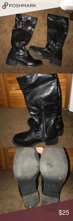 Tall black boots Tall black boots with buckles. Good used condition. Make me an offer Rampage Shoes Winter & Rain Boots