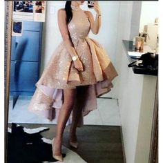 Champagne Sequins high Low 2018 Prom Gown Girls Party Dress High Neck Cocktail D. Champagne Sequins high Low 2018 Prom Gown Girls Party Dress High N High Low Prom Dresses, Cute Prom Dresses, Sweet 16 Dresses, Dresses For Teens, Homecoming Dresses, Bridesmaid Dresses, Dress Prom, 8th Grade Prom Dresses, Junior Dresses