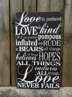 Love is Patient Rustic Wedding Subway Sign Cool Words, Wise Words, Wall Quotes, Life Quotes, Wedding Bible Verses, Painted Wood Signs, Hand Painted, Clever Quotes, Love Is Patient