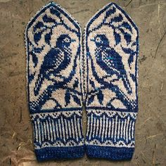 ericamay's songbird mittens - handschuhe sitricken Knitted Mittens Pattern, Fair Isle Knitting Patterns, Knit Mittens, Knitted Gloves, Hat Patterns, Stitch Patterns, Loom Knitting, Knitting Socks, Hand Knitting