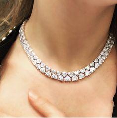 Heart Cut Diamond Tennis Necklace Solid White Gold Over Diamond Tennis Necklace, Diamond Pendant Necklace, Necklace Set, Diamond Jewelry, Necklace Designs, Jewelery, Tanishq Jewellery, Jewellery Sale, White Gold