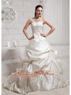 2013 Pick-ups and Embroidery Wedding Dress With Chapel Train Taffeta  http://www.fashionos.com  http://www.facebook.com/fashionos.us  You will definitely rock everybody's heart in this stunning wedding dress! This wedding gown dress is cinched with exquisite beaded appliques. The skirt is made from many, many yards of ruched material that creates an absolutely beautiful effect in the skirt adorned with exquisite embroidery.