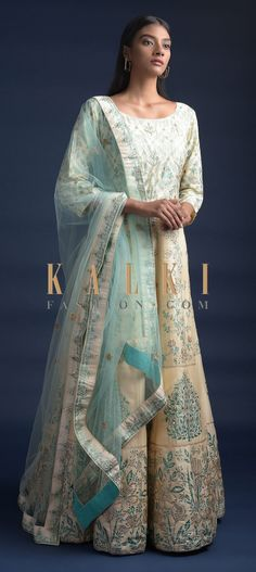 Cream beige anarkali suit in silk with green foil printed floral pattern. Embellished with sequins, cut dana and zari work. Indian Clothes, Indian Outfits, Anarkali, Saree, Wedding Salwar Kameez, Kurti, Party Wear, Sequins, Beige