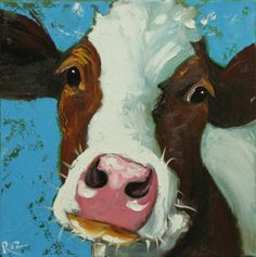 Whimsical Fine Art by Roz Cow Painting, Painting & Drawing, Animal Paintings, Animal Drawings, Cow Pictures, Cow Art, Country Paintings, Painting Inspiration, Watercolor Art