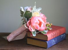 I thought this bouquet was stunning.  It's not very large, but a very sweet, delicate bouquet.  There's another pin with a different view of same bouquet.