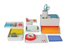 poppin dark gray medium slim tray | desk accessories | cool and
