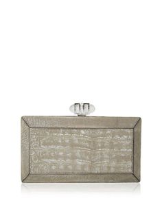 Coffered Crocodile Minaudière, Cream by Judith Leiber Couture.