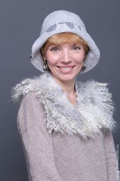"""валяная шляпка """"Туман"""" - шляпка,валяная шляпка,валяная шляпа,элегантная"""