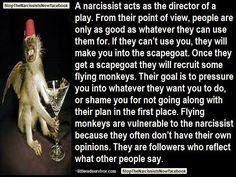 A narcissist acts as the director of a play... Their goal is to pressure you into whatever they want you to do, or shame you for not going along with their plan in the first place. Flying monkeys are vulnerable to the narcissist because they often don't have their own opinions. They are followers who reflect what other people say.