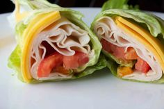 Turkey lettuce roll up. Low carb lunches!
