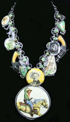 "Fabulous collection necklace made by Western Vintage Revival made from vintage broken china, sterling silver charms, and lots of turquoise. Gotta love ""Roy Rogers""! @www.westernvr.com"
