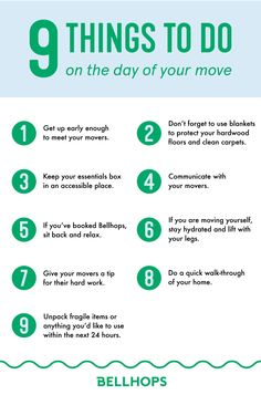 Our printable moving checklist is free and includes everything you need to do on moving day. All of our tips will help you call your new house home in no time. Head to our moving checklist page for week before, day before, and day-of moving check lists. Moving House Tips, Moving Day, Moving Tips, Moving Hacks, Moving Checklist, New House Checklist, Apartment Checklist, Real Estate Tips, How To Clean Carpet