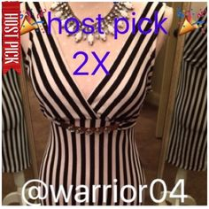 """🎉HP 6/17 & 5/23/16 Black&White Striped Dress NWOT Black & White Striped Dress classic black and white striped, rose gold metal belt, flattering cut, padded lining on breast area for modesty. 95% polyester, 5% spandex, lining is 100% polyester, NWOT length of dress measures 33"""". Easel Dresses"""