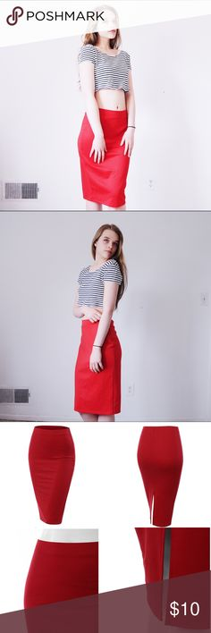 ❤️Stretch Knit Midi Pencil Skirt w/ Back Slit❤️ ✨Stretchy and fitting red pencil skirt from Doublju!!✨ 🌸Laundry instructions still intact + easy to read🌸 🌼Length: 26.5 in. / Waist: 13.5 in. / Hips: 14.5 in. / Hem: 14 in.🌼 🌿95% polyester, 5% spandex🌿 💐Made in USA💐 🌷No trades, thanks🌷 🌺I can negotiate for reasonable offers🌺 Doublju Skirts Midi