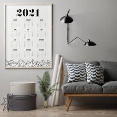 2021 Calendar Minimalist Calendar Geometric Calendar Art   Etsy All The Colors, Vibrant Colors, Wall Planner, Geometric Poster, Bedroom Prints, Marble Print, 2021 Calendar, New Print, Modern Prints