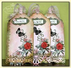 tags using perfect pearls over stamped image