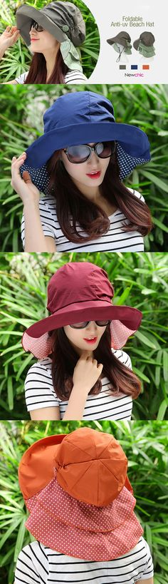 [$ 8.55]   Women Summer Foldable Floppy Hat Anti-uv Beach Hats Casual Traveling Wide Brim Visor Bucket Hat
