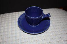Vintage Fiesta Ware Cobalt Blue Demitasse Stick Handle Cup and Saucer
