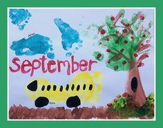 Our Handprint and Footprint Calendar - Andrea Dekker Baby Art Crafts, Toddler Crafts, Craft Activities For Kids, Crafts For Kids, Craft Ideas, Preschool Worksheets, Toddler Activities, Family Crafts, Xmas Crafts