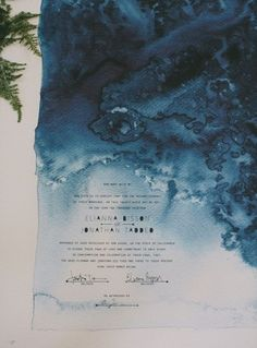love the watercolor effect....Moody Marriage Certificate Pitbulls and Posies Rad and In Love Wedding Stationery Inspiration: Dark + Moody