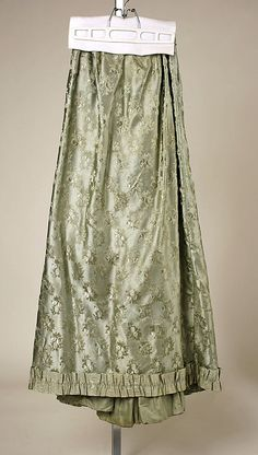 Pale blue-green silk visiting dress (skirt), probably American, 1890-93.