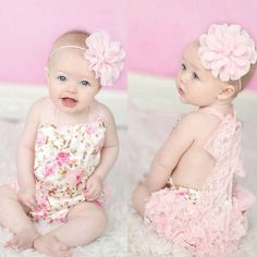 Pink Satin Floral Romper - Thumbnail 2