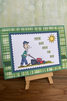 I had so much fun creating this card for our lawn mower man Trevor who's birthday it is in March. As soon as I saw this set I just knew I had to have it. Love the many sentiments and great images. You can purchase supplies from my shop or I also sell completed cards. Fathers Day Cards, Lawn Mower, I Shop, Stampin Up, First Love, Greeting Cards, March, Birthday, Handmade Gifts
