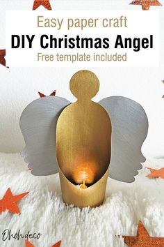 Have fun making this super easy Christmas angels decoration. You can use them as tree ornaments or as a candle votive, placing a LED tealight in it. Kids and adults will enjoy making these paper Christmas angels. Download the free template a start crafting for the holidays. #diy #angels #paper