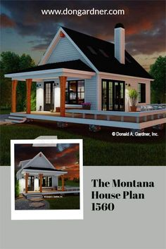 The Montana house plan 1560 is now in progress! 603 sq ft | 1 Bed | 1 Bath This tiny modern farmhouse is ideal for a vacation home or a rental property. A metal roof and wooden columns highlight the front porch while a deck wraps around the side of the home. Inside, find a cathedral ceiling with skylights above the great room and master bedroom. Special features include a three-sided fireplace, kitchen island, pantry, and a washer/dryer closet. #wedesigndreams #modernfarmhouse #tinyhouseplan Cottage House Plans, Country House Plans, Tiny House Plans, Cottage Homes, Unique Small House Plans, Wooden Columns, Fireplace Kitchen, Montana Homes, Skylights