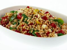 Giada's smoked paprika israeli couscous salad. It has feta, mint, tomatoes, roasted red peppers, and other tasty items. Great for lunch!
