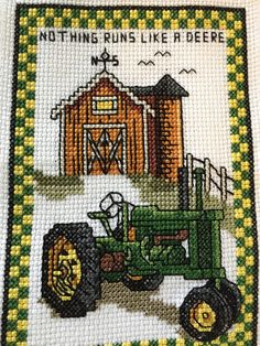 Finished Cross Stitch Huck Showcase Towel John by ontheroadmama