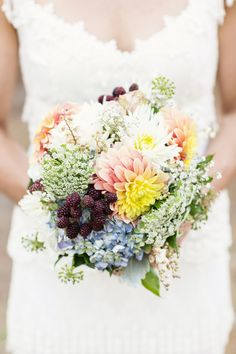 Gorgeous  Bridal Bouquets with Purple Fruits