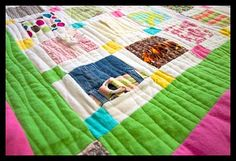 one of the only tutorials I could find on how to make a quilt out of little sisters clothes she has out grown. Can't wait to get started.
