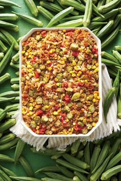 Okra and rice casserole. Okra is delicious deep-fried, but they are more versatile than you think. The smaller pods are the most tender so look for ones 3 - Okra Recipes, Potluck Recipes, Side Dish Recipes, Cooking Recipes, Summer Recipes, Oven Cooking, Turkey Recipes, Easy Cooking, Rice Recipes