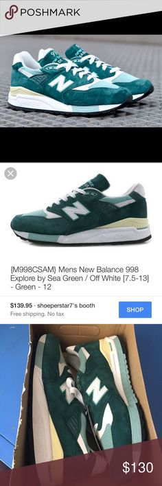 New Balance 998 Explore By The Sea Rare Explore By The Sea Green New Balance Shoes Sneakers