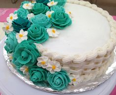 Wilton course 2 cake completed! Lemon cake with raspberry filling, royal icing flowers and buttercream basket weave!