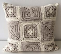 Neutral Scatter Cushion, Decorative Throw Pillow, Cream Accent Pillow, Neutral Living Room, Granny Square Cushion, Crocheted Throw Pillow