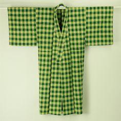 Green, hitoe vintage nagaki kimono for man / 緑系カジュアルな格子柄ウール単衣長着