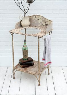 Isn't this gorgeous??  Vintage French Iron Washstand  Wash Stand by ZinniaCottage on Etsy, $275.00
