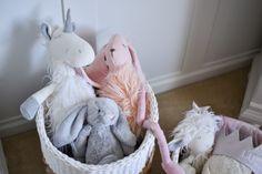 Basket of stuffed animals - so adorable!