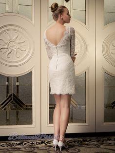 Square Neckline Lace 3/4 sleeves Short Wedding Dress