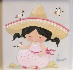 Aida Zamora - Art for kids. Custom paint. Cuadro infantil personalizado. Mexican girl.
